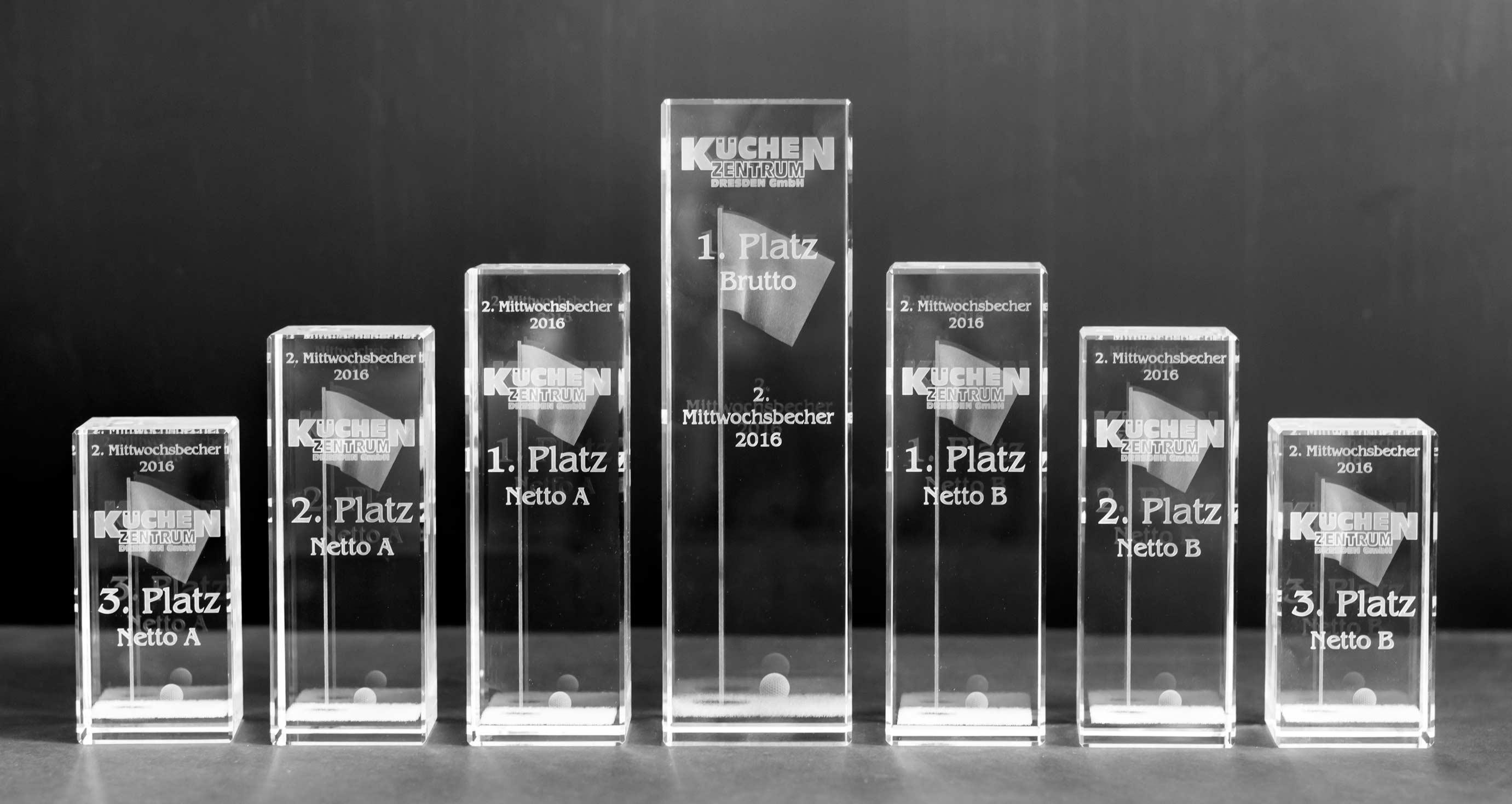 Glaspokale, 3D-Gravur, Werbung, Dresden